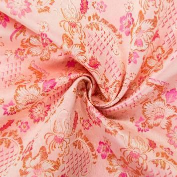 Satin asiatique rose clair motif floral doré et rose