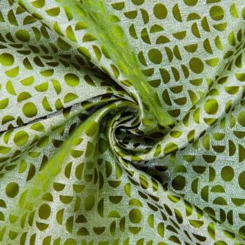 Satin asiatique vert motif rond et demi rond