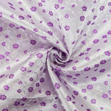 Satin asiatique parme motif fleur violette