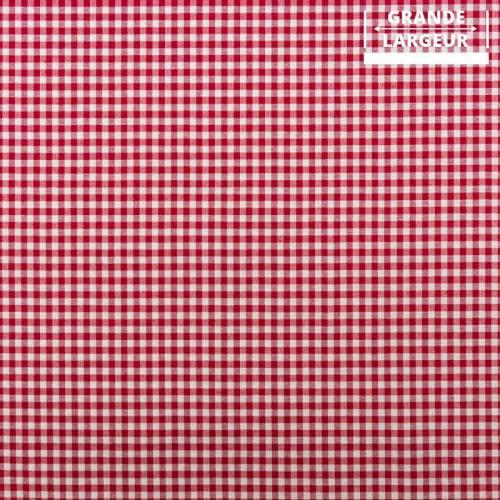 Tissu grande largeur vichy rouge et blanc