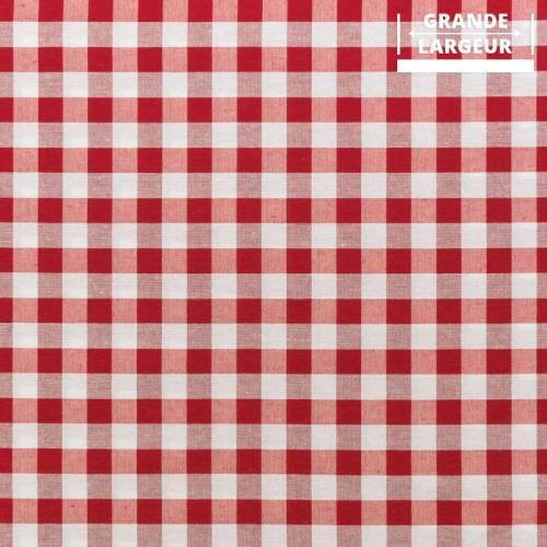 Tissu grande largeur moyens carreaux rouges et blancs