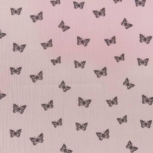 Double gaze parme imprimée papillon