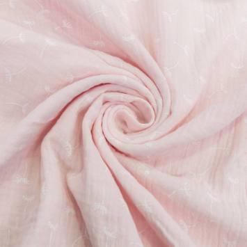 Double gaze rose imprimée pissenlits