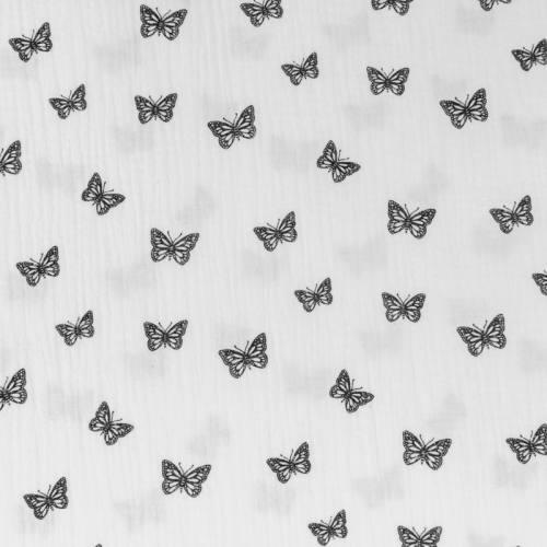 Double gaze blanche imprimée papillon