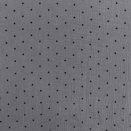 Double gaze grise imprimée pois