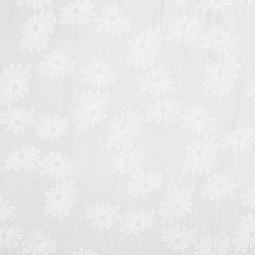 Voile de coton blanc motif fleur