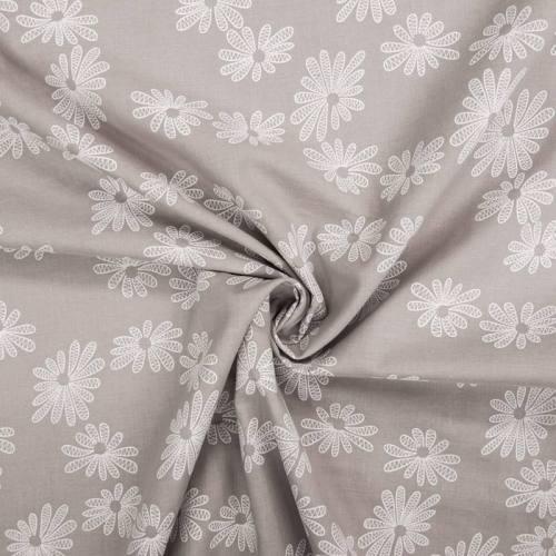 Voile de coton gris perle motif fleur