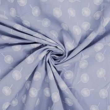 Voile de coton bleu ciel motif pissenlit