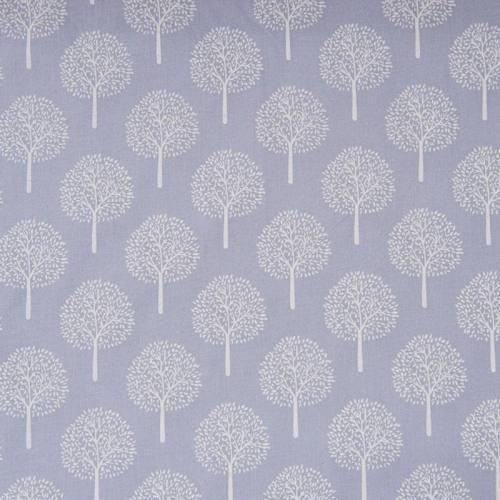Voile de coton bleu ciel motif arbre