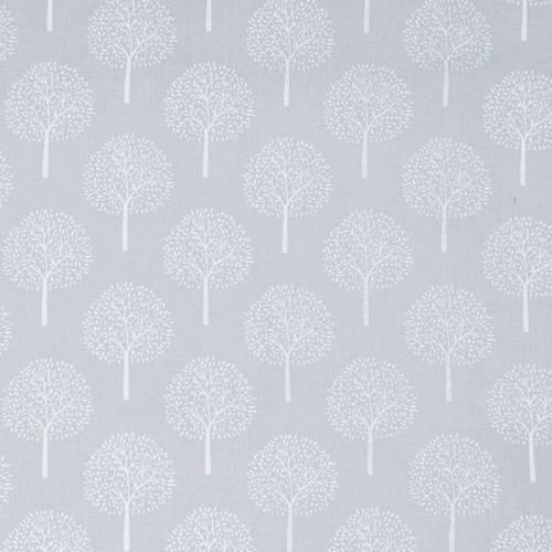 Voile de coton bleu gris motif arbre
