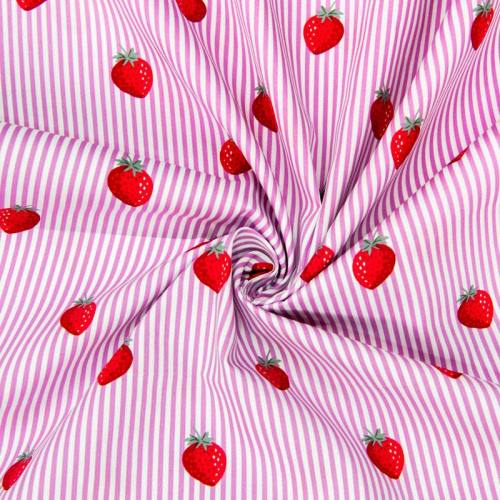 Popeline de coton rayée blanche et rose motif fraise