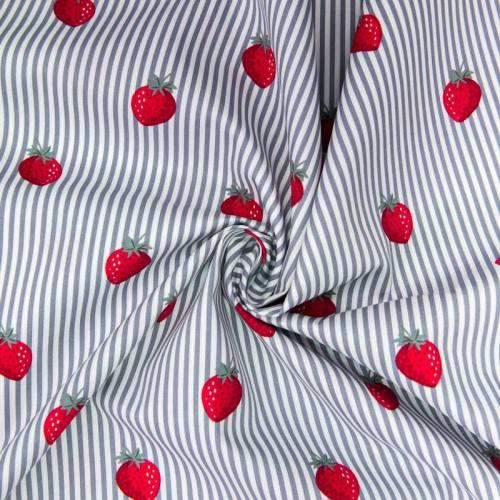 Popeline de coton rayée blanche et grise motif fraise