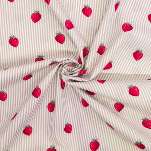 Popeline de coton rayée blanche et beige motif fraise
