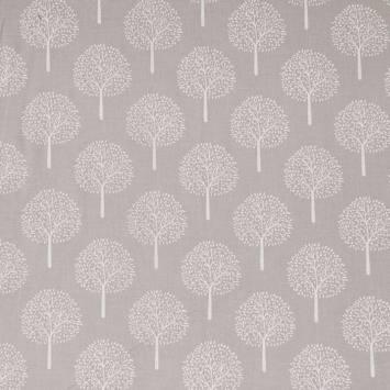 Voile de coton gris perle motif arbre