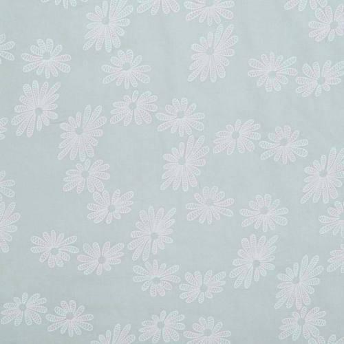 Voile de coton vert d'eau motif fleur
