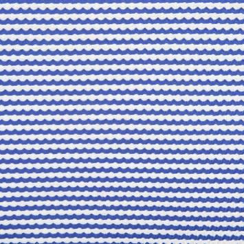 Maille extensible gaufrée à rayures bleues et blanches