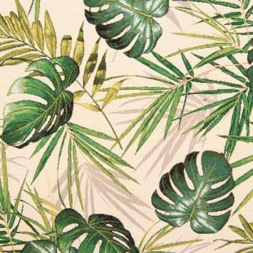Jacquard beige motif feuilles vertes