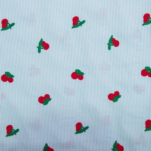 Tissu à rayures vertes broderies cerises