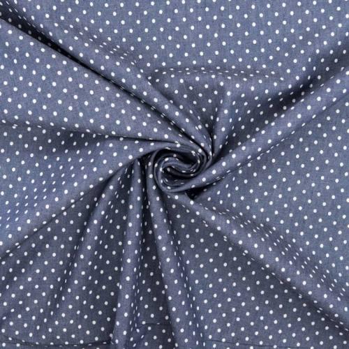 Tissu jean chambray motif pois blancs
