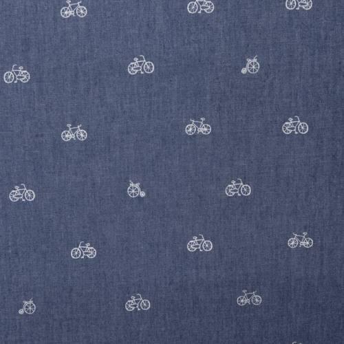Tissu jean chambray motif vélos blancs