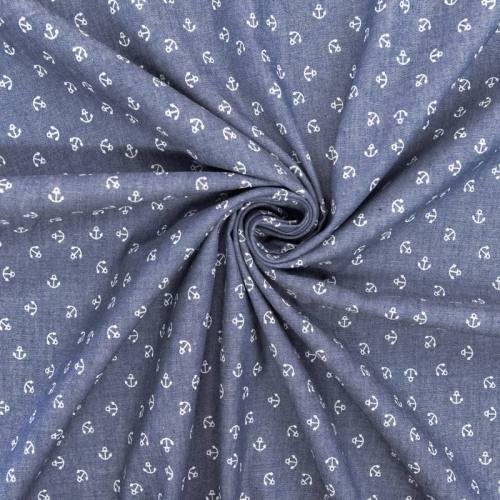 Tissu jean chambray motif ancres blanches