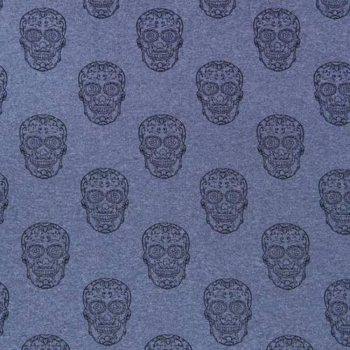 Tissu molleton french terry chiné bleu calavera