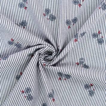 Coton blanc à rayures bleues motif bicyclette