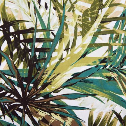 Jersey viscose blanc motif jungle vert
