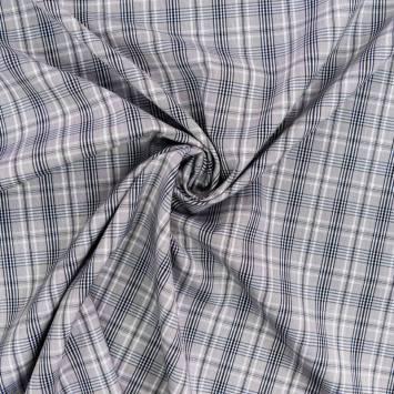 Tissu carreaux Check gris et bleu