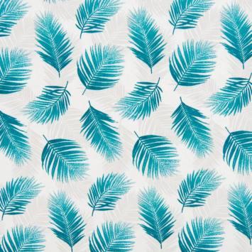 Coton écru motif feuilles tropicales bleu canard et gris clair