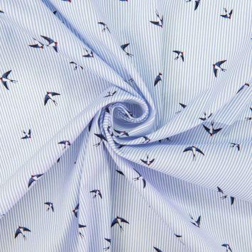 Coton blanc à rayures bleues motif hirondelle