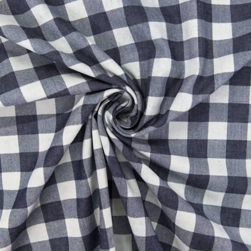 Tissu jean foncé motif grand carreau