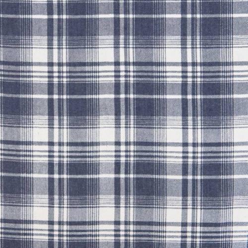 Tissu jean foncé motif carreau écossais
