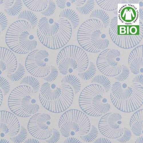 Jersey bio bleu imprimé coquillages