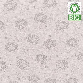 Jersey bio gris imprimé petites fleurs