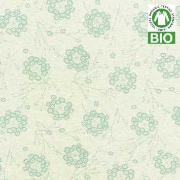 Jersey bio vert imprimé petites fleurs