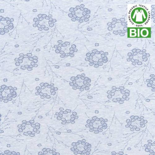 Jersey bio bleu imprimé petites fleurs