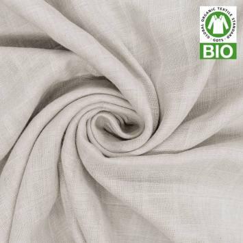 Coton bio pour lange bébé gris