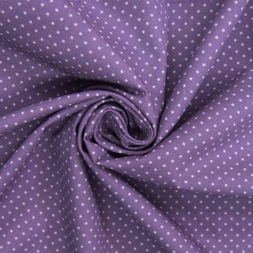 Popeline de coton violette imprimée pois