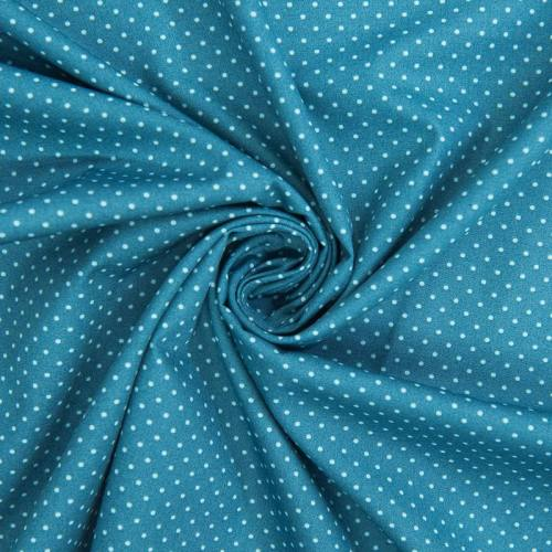 Popeline de coton bleu pétrole imprimée pois