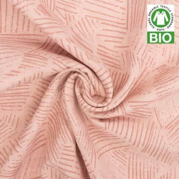Coton bio pour lange bébé rose motif hachures