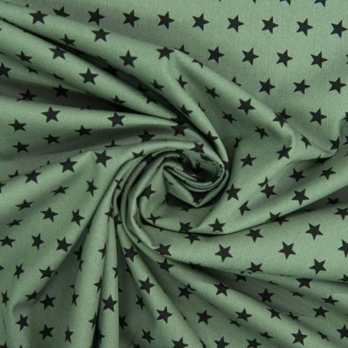 Popeline de coton verte imprimée étoile noire