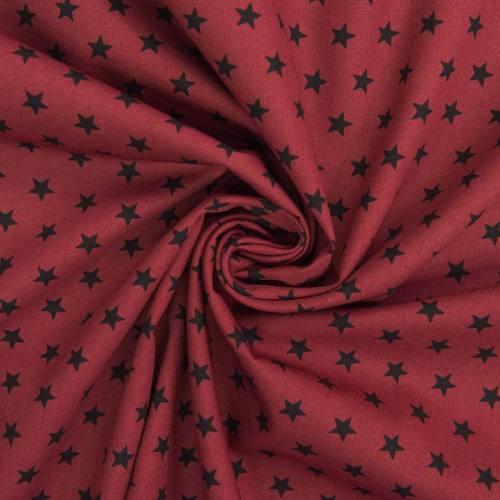 Popeline de coton rouge pourpre imprimée étoile noire
