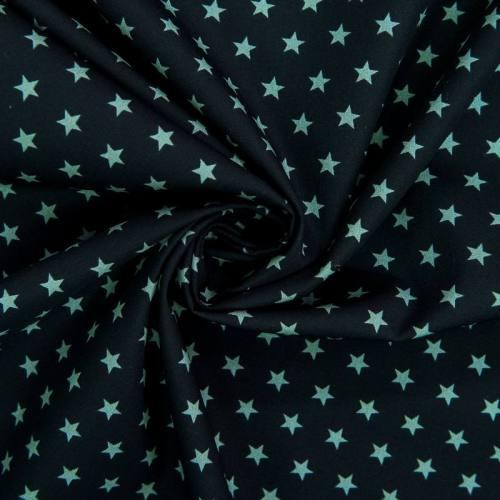 Popeline de coton noire imprimée étoile verte