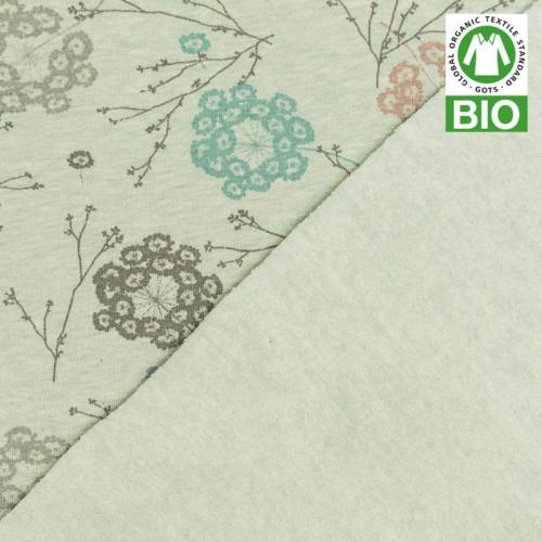 Jersey molleton bio vert imprimé floral