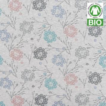 Jersey bio gris imprimé floral