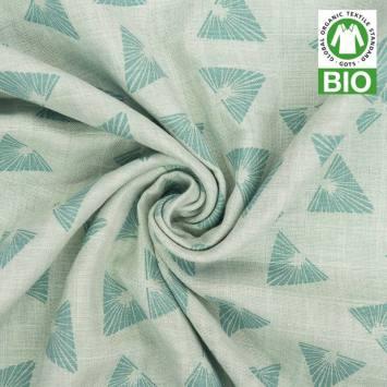 Coton bio pour lange bébé vert motif triangles