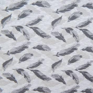 Jersey gris imprimé feuille