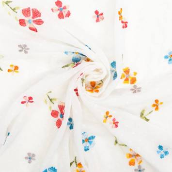 Voilage plumetis blanc broderies fleurs des champs