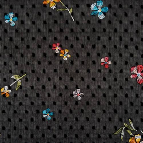Voilage plumetis noir broderies fleurs des champs